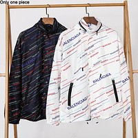 Balenciaga fashionable casual couple trench coat popular print outerwear
