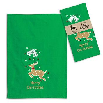 Merry Christmas Reindeer Tea Towel - Box of 4