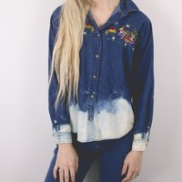 Vintage Bleached Dyed Chambray Button Up Shirt