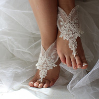 wedding shoes,summer shoes,barefoot sandals,bridal accessories, ivory lace, wedding sandals,shoes,free shipping! bridesmaids, wedding gifts