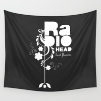 Radiohead song - Last flowers illustration white Wall Tapestry by lilavert