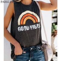 Rainbow Printed Tank Top Women 2018 Summer New Casual O Neck Sleeveless Shirt Femme Harajuku Hippie Style Tops Tees Vest Blouse