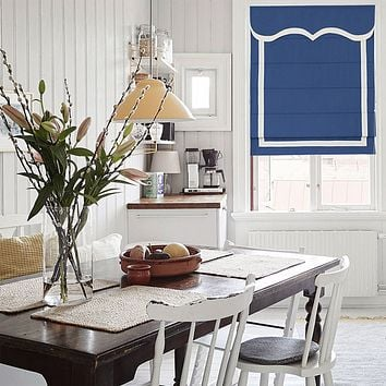 Quick Fix Washable Roman Window Shades Flat Fold with Valance, SG-014 Blue with White Trim
