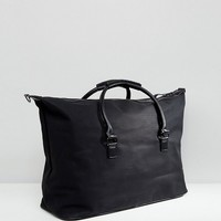 River Island Large Carryall With Weave Detail In Black at asos.com