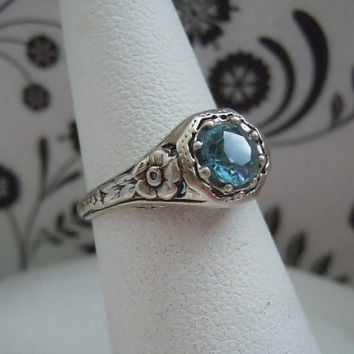 SALE Estate Vintage Engagement Ring Natural .50ct Blue Topaz Sterling Silver 925 Floral Sides Filigree Ring 1.9g Free Shipping