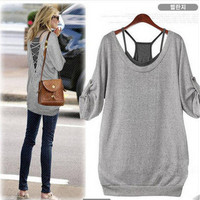 Women's Trending Popular Fashion 2016 Backless Casual Party Playsuit Clubwear Bodycon Boho Top Shrit T-Shirt T-Shirt _ 4469