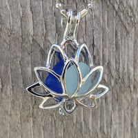 Mixed Sea Glass  Lotus Locket Necklace by Wave of Life