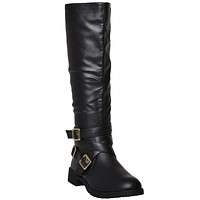 Womens Strappy Knee High Riding Boots Black