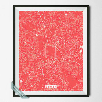 Dudley Print, Dudley Map, England Poster, Dudley Poster, British, England Print, England Map, Street Map, Map Decor, Wall Art