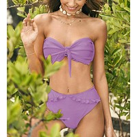 Summer New Fashion Solid Color Knot Strapless Two Piece Bikini Swimsuit Purple