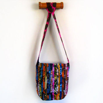 African Print Batik Messenger Bag - Detailed Patchwork