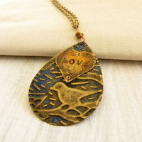 Bird Pendant With Love Stamped Heart Etched  Blue Metal Necklace Vintage Brass Colored Chain Handmade Jewelry