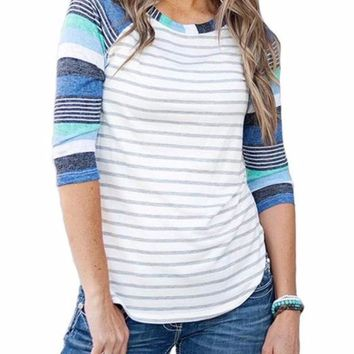 Women's Blue Colorful Colorblock Striped 3/4 Raglan Sleeve T-Shirt Top