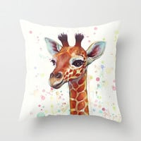 Baby Giraffe Watercolor Painting, Cute Animals Throw Pillow by Olechka