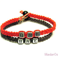 Bracelets for Couples or Best Friends, Set of Two, BAE Before Anyone Else, Red and Brown Macrame Hemp Jewelry