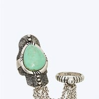 Turquoise Chained Ring Duo