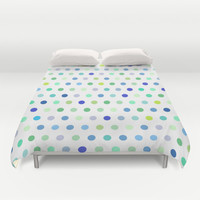 Polka Dots - Blue & Green Duvet Cover by House of Jennifer