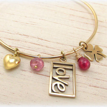 Gold Charm Bangle, Lucky in Love Bracelet, Gift for Girlfriend or Wife, Gold Heart Charm Bracelet, Bridal Gift, Romantic Gift, Pink Jewelry