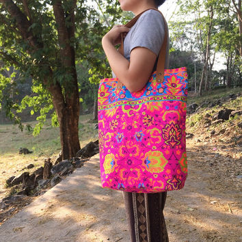 Tote bag Canvas Boho Hippie Beach bag Travel Bag Paint bag Festival Printed Tribal bag Neon Summer bag Hippie bag Weekender bag Purse