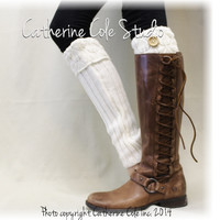 EVERGREEN cuff leg warmers - cream