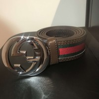 Men's Gucci Belt (Brown, Red & Green) 46''