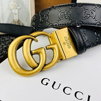 GUCCI Simple Embossed Double G Letter Belt
