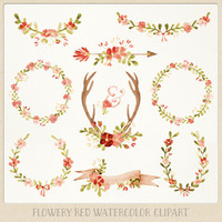 Watercolor Clipart red Wreaths, Laurels, Banner, Flowers, Ampersand, Antlers, Arrow perfect for Floral wedding invitations wall art & more