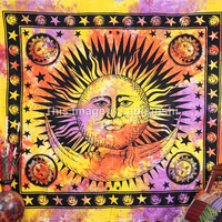 Hippie Hippy Sun Moon Tie Dye Tapestry , Psychedelic Celestial Stars Tapestry, Indian Tapestry, Wall Hanging Tapestry, Queen Dorm Bedding