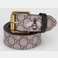 GUCCI Fashion Women Men Design Retro Belt Bee Print Belt H