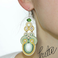 Elegant, unique, bridal earrings, handcrafted, yellow, mint, pastels jewelry