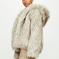 Missguided - Peace + Love Cream Cropped Faux Fur Hooded Coat
