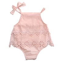 Newborn Baby Girls Lace Sleeveless Romper