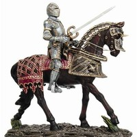 Medieval Knight on Horse with Decorative Armor