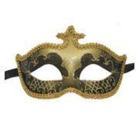 Black and Gold Hand Painted Venetian Masquerade Mask With Glittery Scrollwork