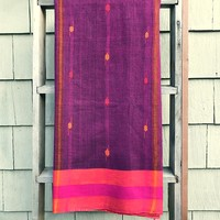 Rabha Women Weavers Handwoven Lunghi - Magenta & Orange