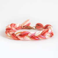 Coral bracelet, braid bracelet with chain, friendship bracelet, coral boho bracelet