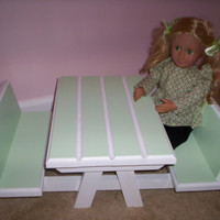 green picnic table and two benches Handcrafted for American Girl size doll 18 inch doll furniture