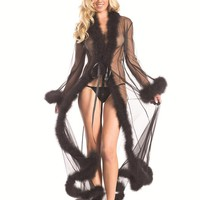 Bewicked Female Sheer Full-Length Robe With Chandelle Feather Trim. BW1650BK
