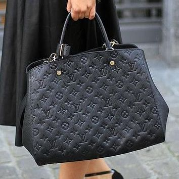 LV Louis Vuitton Classic Letter Embossed Tote Bag Shopping Bag Fashion Ladies One Shoulder Messenger Bag