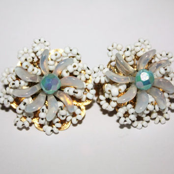 Vintage Hobe Earrings, Moonstone Cluster Earrings, Clip On Earrings, 1950s Jewelry Designer Dangle