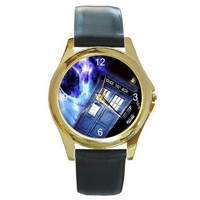 "Dr Who "" The Tardis "" on a Mens or Womens Gold Tone Watch with Leather Band"