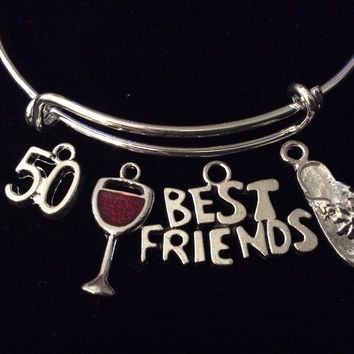 Best Friends Happy 50th Birthday Wine Glass Flip Flop Expandable Silver Charm Bracelet Adjustable Bangle Gift