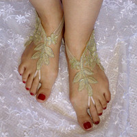 Gold lace wedding shoe beach sandals barefoot lace  free ship bridal  burlesque wedding shoe sexy bellydance show party