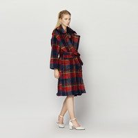 Casual Plaid Double Collar Wool Coat
