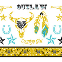 Metallic Gold, Silver, Turquoise Western Tattoo Set