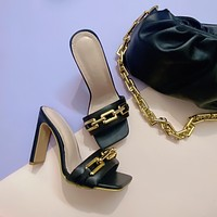 New sexy ladies high heels fashion shoes square chain sandals