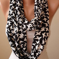 New - Valentine's Day Gift - White Flying Birds - Infinty Scarf - Circular Scarf  -  Loop Scarf - Black and White - White Birds