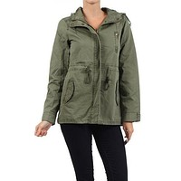 Solid Hooded Zip Up & Buttoned Military Trench Safari Jacket