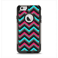 The Sharp Pink & Teal Chevron Pattern Apple iPhone 6 Otterbox Commuter Case Skin Set