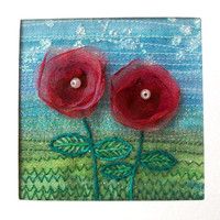 5 inch square organza flower card - for framing - embroidered card - fabric art greeting card -  textile art - wedding gift card